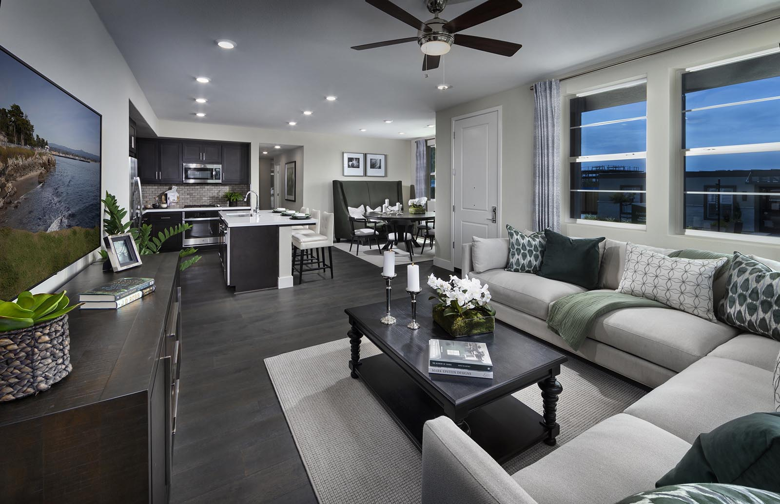 Great Room to Kitchen Residence 1 | Downing at Boulevard by Lennar, Dublin, CA