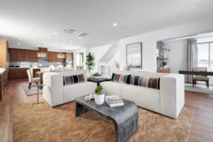 Great room in Residence 3 at Mulholland at Boulevard in Dublin, CA by Brookfield Residential