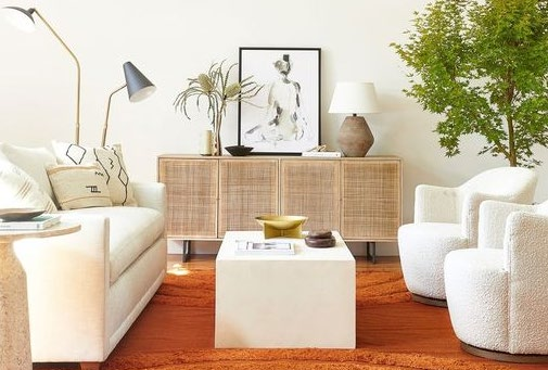 living room with white colored furniture and orange carpet